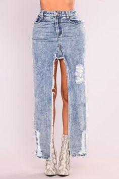 Never Decided Denim Skirt - Denim