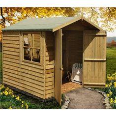 Garden & Storage Sheds 10 X 6 Foot Overlap Pent Shed Rustic Workshop Solid Floor Fsc Certified 10ft 6ft