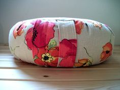 Zafu Cushion in Colorful Poppies on Natural Reclaimed Linen by zafuchi, $59.95