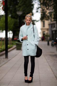 fluffy blue coat. stockholm street style.