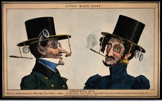 """""""Men's functional black suits were an emblem of Western democracy, rationality, and technological progress...[this caricature] shows a revolving hat that provided its wearer with an eyeglass, cigar, scent box, spectacles, and even an ear trumpet...By contrast, women became the """"natural"""" wearers of frivolous, irrational, and arbitrary fashions that hampered their movements and health in both the public and domestic spheres."""" #FashionVictims #steampunk #monocle #Halloween"""