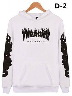 Unisex Hooded THRASHER Printed Color Block Long Sleeve Hoodie Sweatshirt  with One Pocket  9b5cdfe88