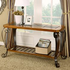 This Console Table With Provide Style To Any Living Room Intricate Mosaic Slate  Top With Powder Coated Stylish Metal Base Dark Brown Powder Coat Finish On  ...
