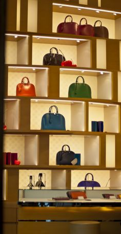 Handbags On Display In The Louis Vuitton Tokyo Photographed For Our Feature