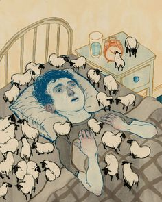 This is a visual metaphor for a guy who's an insomniac. He has had sleepless nights counting sheeps. The flock of sheep and his face are more indications of him just counting a lot of sheep to try and get some sleep.