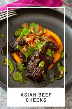 Delicious slow cooked beef cheeks with tons of Asian flavours - perfect to warm your soul on a cold evening. Don't forget a glass of red! #beefcheeks #asianbeefcheeks #slowcookedbeefcheeks #braisedbeefcheeks @another_food_blogger