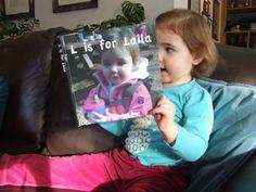 Custom alphabet letter book - great toddler gift - includes 12 family photos - hardback