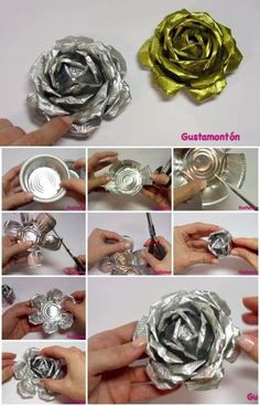 Aluminum can crafts - Here's the link to the tutorial >> How to Make Aluminum Roses Aluminum Foil Art, Aluminum Can Crafts, Metal Crafts, Recycled Crafts, Aluminum Can Flowers, Tin Foil Art, Recycled Clothing, Recycled Fashion, Tin Can Art