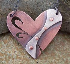 Riveted Art Nouveau Heart Pendant by LilyBartDesigns