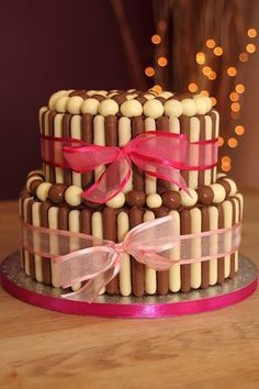 Two tier chocolate finger cake.