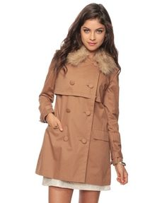 Double-Breast Jacket W/Faux Fur Collar - StyleSays