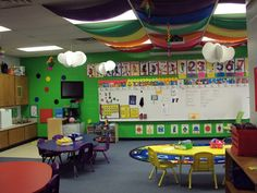 rainbow inspired classroom  www.schoolgirlstyle.com