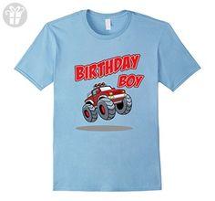 Mens MONSTER TRUCK 4X4 CAR BIRTHDAY BOY T-SHIRT XL Baby Blue - Birthday shirts (*Amazon Partner-Link)