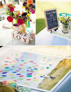 Up inspired wedding. CUTE how they have a picture of them for the 'balloon thumbprint' idea!