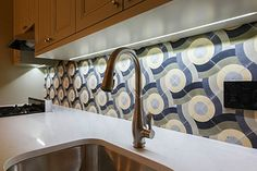 Encaustic Cement Tiles | Mosaic Tiles | Design| Amethyst Artisan | NYC | Encaustic Cement Tiles Installs  Camo Swirl Cement TIle