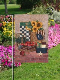 """Americana Flag - Garden by Custom Décor, Inc.. $3.59. Measures 12"""" x 18"""". Made with long lasting polyester. Made in the USA. Pole sleeve slides through garden flag pole. This Americana Flag will make a great addition to your outdoor decor! It has sunflowers and apples, even the Betsy Ross flag! Your going to love the awesome detail in this beautiful flag! Made in the U.S.A. Made of polyester. Measures: 12"""" x 18"""". Save 70% Off!"""