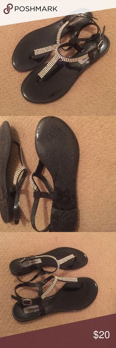 Steve Madden rubber sandals Black rhinestoned sandals. Worn but still in great condition. Few diamonds missing but not noticeable. No scratches! Rubber so they are waterproof and great for by the pool or at the beach Steve Madden Shoes Sandals