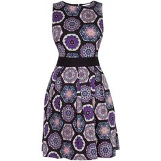 Closet Lace Tie Back Print Dress, Purple ($39) ❤ liked on Polyvore featuring dresses, fit and flare dress, lace mini dress, black dress, maxi dress and black maxi dress