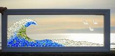 Window Art: Custom Sea Glass Art on 4 foot window.  By Maine artist Tricia Granzier. #seaglass