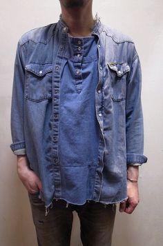 【OLD PARK】(オールドパーク) PULLOVER SHIRT プルオーバーシャツ DENIM WESTERN デニムウエスタン リメイク