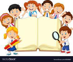 Cartoon school children with book isolated. Illustration of Cartoon school child ,