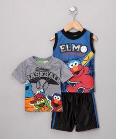 Blue Elmo Baseball Tank Set - Toddler  sawyers two most fav things!