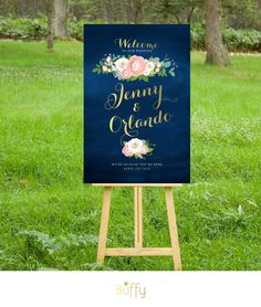 $20 on ETSY | The JENNY . Welcome Wedding Ceremony Sign . Gold Calligraphy & Navy Chalkboard . White Roses Pink Peonies Dusty Miller . Custom Flowers PDF by BuffyWeddings on Etsy