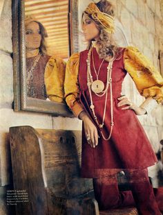 A Skin For All Seasons / Simply splendid burgundy Suedelope tunic with matching trousers by Cordoba. Balloon leeved shirt by Savita / Photographed by Franco Rubartelli. The Daily Telegraph Magazine, 27th September 1968.