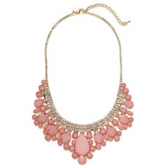 BaubleBar Pink Snow Collar ($42) ❤ liked on Polyvore featuring jewelry, necklaces, accessories, jewels, baublebar jewelry, charm jewelry, lobster clasp charms, white necklace and jewel necklace