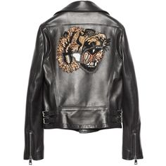 Gucci Tiger Leather Jacket (4.125.630 CLP) ❤ liked on Polyvore featuring outerwear, jackets, coats & jackets, coats, kirna zabete, snap jacket, sequin jacket, real leather jackets, gucci and zip front jacket