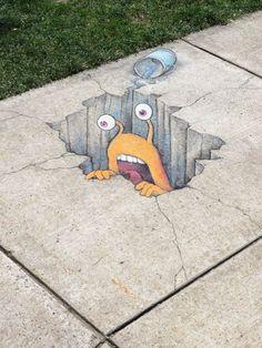 """"""" Si j'aurais su, j'aurais pas venu ! """" ( La Guerre des Boutons ) / / Chalk-Street-Art. / David-Zinn."""