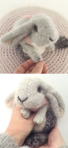 Stunning Knitted Animals - crochet & knitting - Stunning Knitted Animals Holand Lop Rabbit free knitting pattern This is a beautiful classic grey rabbit. It's the cutest one of all! It's simple and the only decoration is a pink bow around its neck. Animal Knitting Patterns, Sweater Knitting Patterns, Knitting Socks, Crochet Patterns, Knitted Toys Patterns, Free Baby Knitting Patterns, Crochet Rabbit Free Pattern, All Free Knitting, Sweaters Knitted