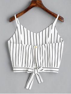 Camiseta sin mangas cortadas con rayas Bowknot - Raya S