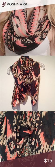 Coral Aztec Scarf Black, tan, and coral Aztec print scarf. Worn once or twice but excellent condition! (not an infinity scarf) Forever 21 Accessories Scarves & Wraps