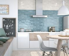 75x300x8mm, Gloss Pressed Edge Glazed Ceramic. Made in Spain. Wall Only. V2. 2mm Joint Recommended Kitchen Design Small, Bathroom Style, Tiles, White Tiles, Kitchen Wall Tiles, Kitchen Wall, Blue Kitchen Tiles, White Kitchen Wall Tiles, Kitchen Design