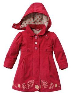 Girls' Coat BROWN DARK SOLID WITH DESIGN+RED DARK SOLID WITH DESIGN