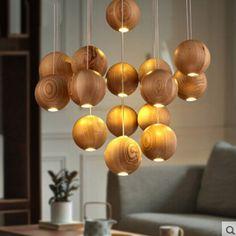 G4 лампы свободно северные икеа творческой деревянный освещение дерева мяч круглый Wod подвесные светильники