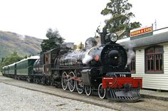 Kingston Flyer Vintage Steam Train # 778 at Kingston Railway Station, Southland, New Zealand