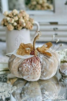 Beautiful photos and thoughts collected from various sources.PicMonkey: Design That Works Velvet Pumpkins, Fabric Pumpkins, Fall Pumpkins, White Pumpkins, Thanksgiving Decorations, Halloween Decorations, Holiday Decor, Fall Decorations, Vintage Decorations