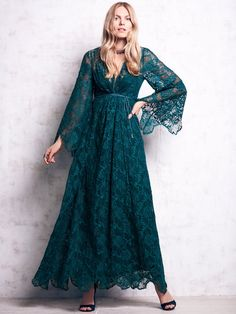 Free People Lace Kimono with Bell Sleeves