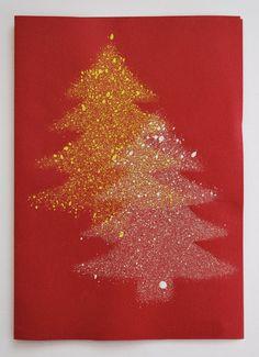Make Christmas cards - Christmas card fir trees - Christmas Tree Store, Christmas Cards To Make, Christmas Art, Fall Arts And Crafts, Kindergarten Crafts, Lucky Charm, Tree Art, Home Gifts, Crochet Patterns