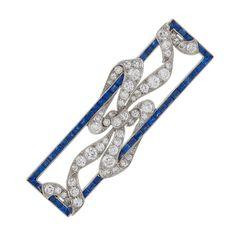 Early Art Deco Diamond, Sapphire and Platinum Brooch   1stdibs.com