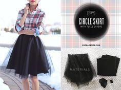 DIY skirt (tutorial below) ou autre jupe en tulle + Chemise Granville Shirt de Sewaholic