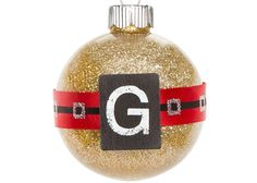 Personalized Wood Tile Glitter Ornament