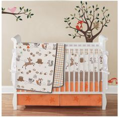 LOVE this set, but instead of an orange skirt a blue. Of course, depending on crib...may not even need the skirt.