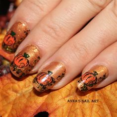 Orange Pumpkin - HALLOWEEN NAILS - holidays - nail polish