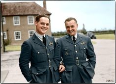 Two Duxford-based Battle of Britain pilots.  Squadron Leader Douglas Bader, commanding No. 242 (Canadian) Squadron, with Major Alexander 'Sasha' Hess, CO of No. 310 (Czechoslovak) Squadron, outside the Officers Mess building, Duxford, Cambridgeshire. October 1940.  RAF Duxford was a Sector Station in 12 Group, responsible for defending the Midlands and East Anglia in England.  (Source – IWM CH1340)