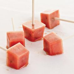 Minted Watermelon Popsicles   These popsicles are a great fat-free snack, made with lots of naturally sweet watermelon and only a little sugar. They can be frozen in special popsicle molds or in standard ice cube trays (three cubes equals one serving). Joy Manning has them whenever she feels the temptation to visit the gelato shop around the corner from her apartment.