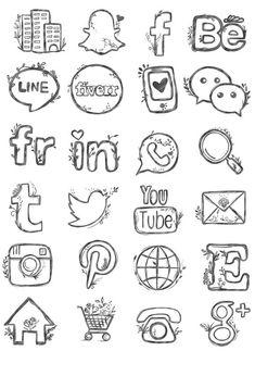 48 hand drawn social media icons social media buttons Etsy Source by carolinaiam Social Media Art, Social Media Buttons, Doodle Drawings, Easy Drawings, Griffonnages Kawaii, Website Icons, Website Clipart, Doodle Art Designs, Social Icons