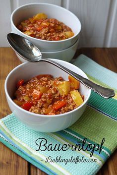 Peasant pot and a new favorite spoon- Bauerntopf und ein neuer Lieblingslöffel Food, cooking, peasant pot, minced meat - Meat Recipes, Dinner Recipes, Healthy Recipes, Healthy Eating Tips, Healthy Nutrition, Good Food, Yummy Food, Mince Meat, Vegetable Drinks